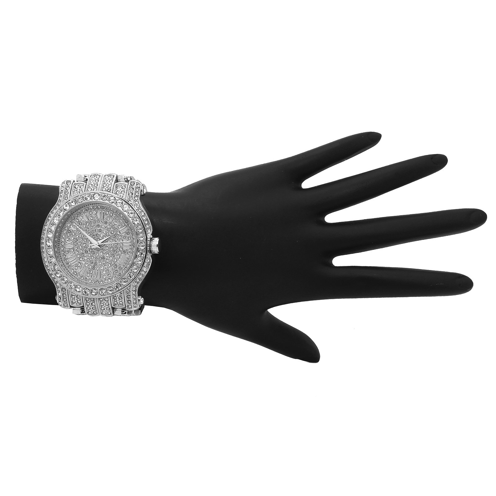 Iced Out Pave Silver Tone Hip Hop Men's Bling Bling Silver Metal Band Watch Watches by Technoking (Image #4)