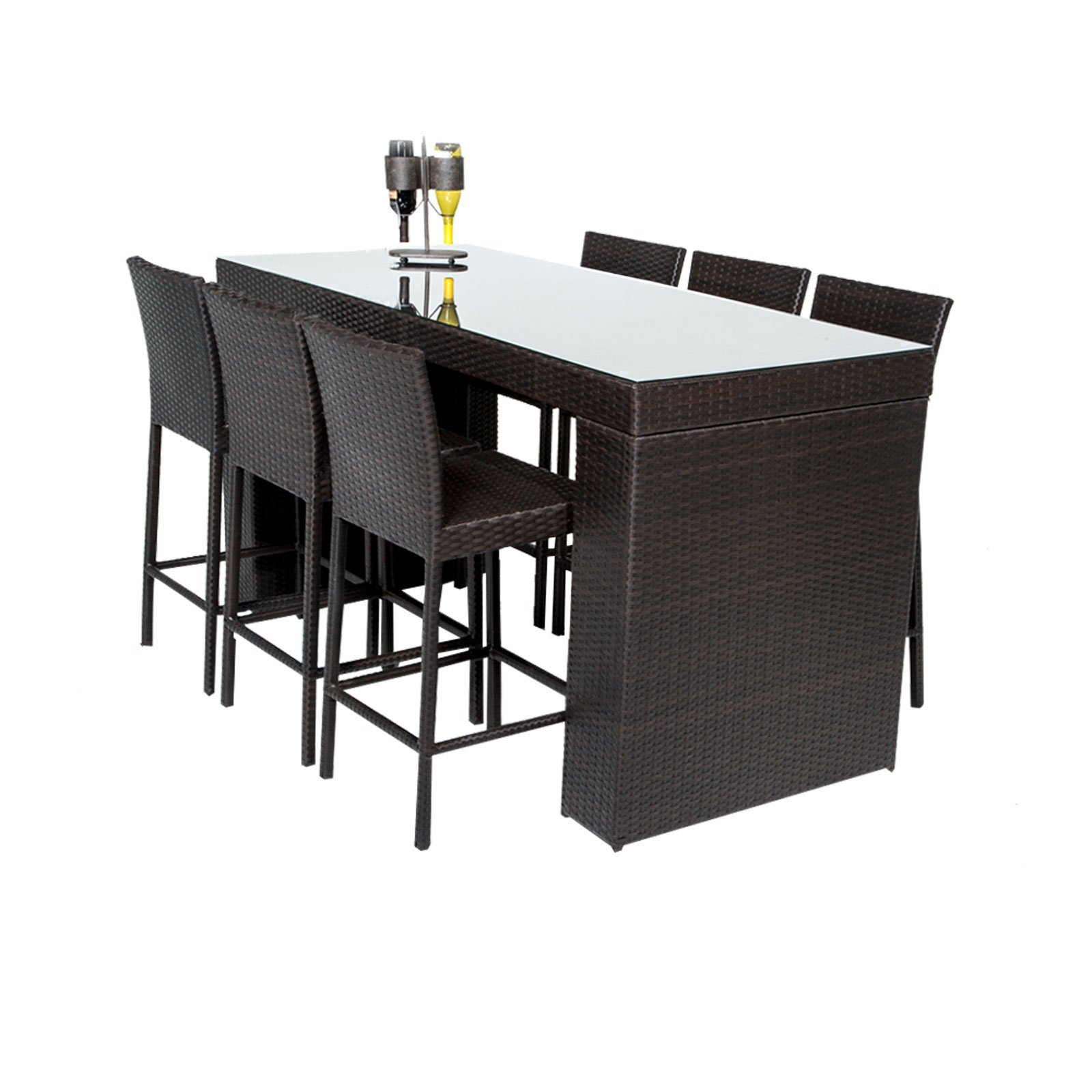 TK Classics BARTABLE-WITHBACK-6 Napa 7 Piece Bar Table Set with Barstools Outdoor Wicker Patio Furniture