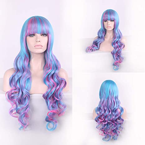 Amazon.com : mixed color wigs women heat resistant rainbow wig long wavy wigs with bangs multicolour wig multi, Multi Color : Beauty