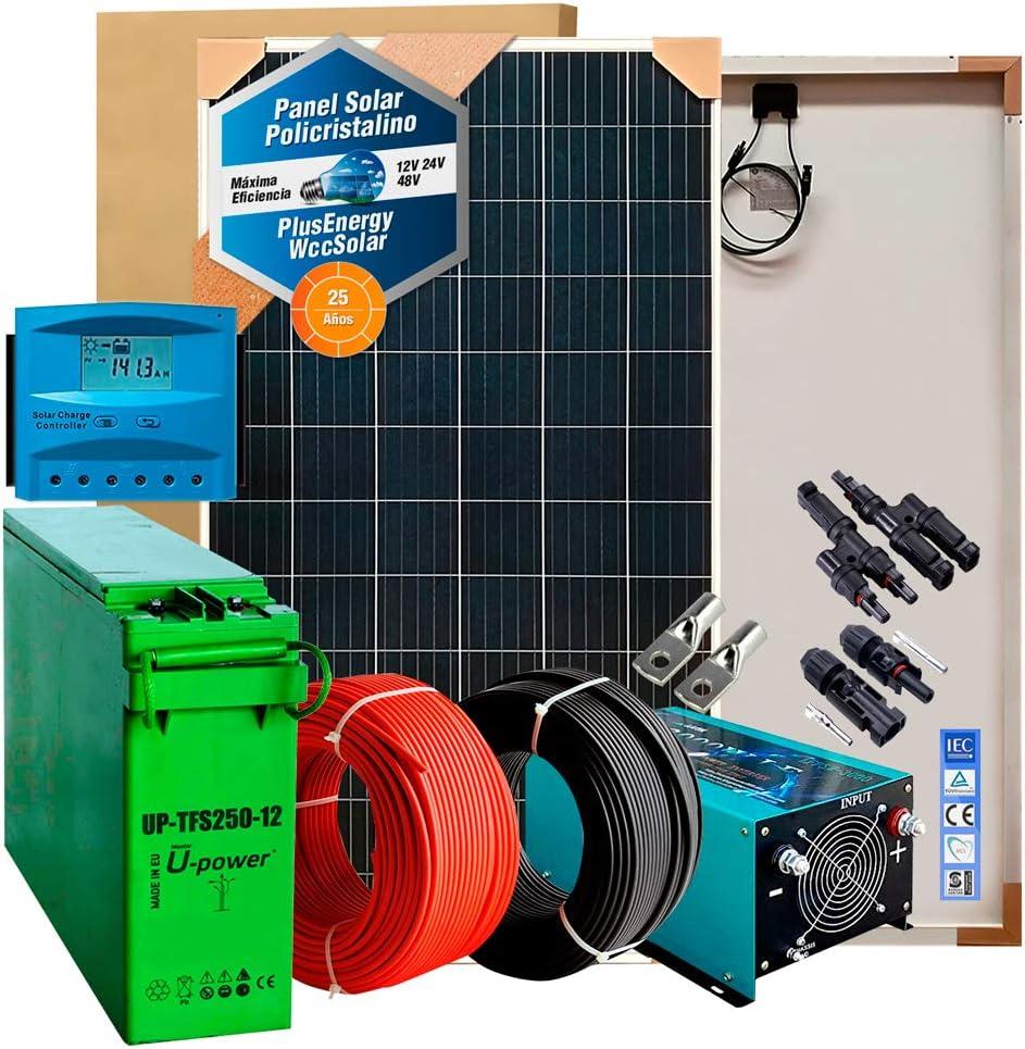 Kit Solar 12v 600W/3000W día Regulador de carga PWM 40A Inversor 1000w onda pura con cargador 25Ah Batería AGM TFS-250AH