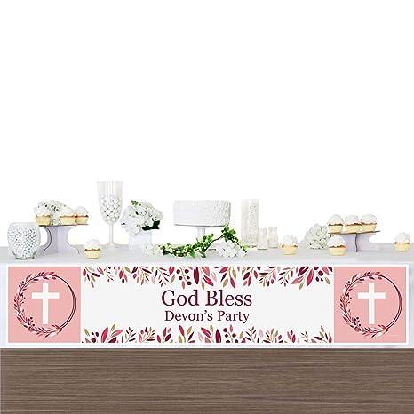 Amazon.com: Pancarta personalizada rosa elegante cruz ...