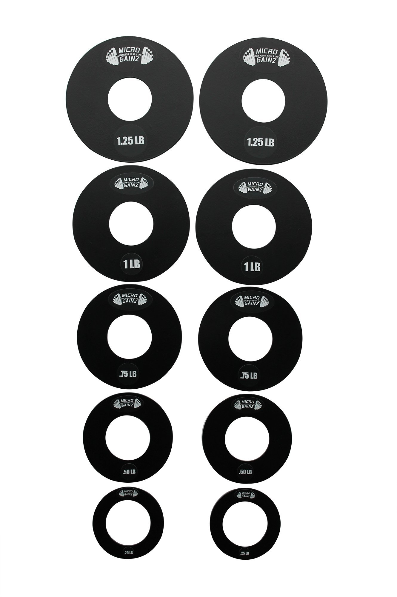 Micro Gainz Olympic Fractional Weight Plate Set of .25lb, .50lb, .75lb, 1lb, 1.25lb Plates - (10 Plate Set) - Designed for Olympic Barbells, Used for Strength Training and Micro Loading