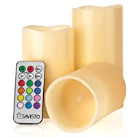 Savisto Flameless LED Real Wax Mood Candles with Colour Changing Remote Control and Timer, Cream