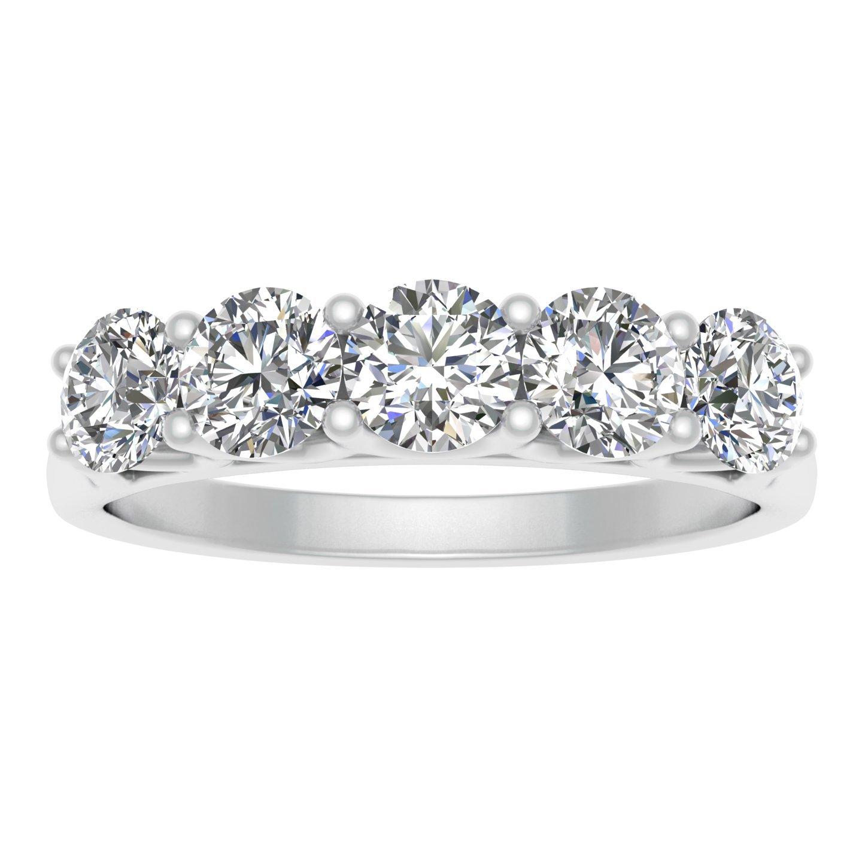 IGI Certified 1.00 Carat TW Diamond Five Stone Wedding Band in 14k White Gold (K-L Color, I2-I3 Clarity)