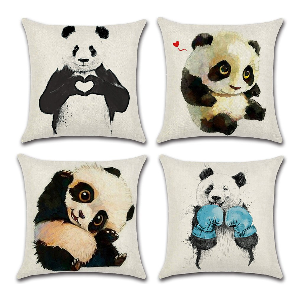 WERSEA Decorative Animal Prints Square Linen Throw Pillow Cover, Burlap Pillow Case Cushion Cover for Living Room Couch, Set of 4 - Cute Pandas Design (18'' x 18''/ 45cm x 45 cm) by WERSEA