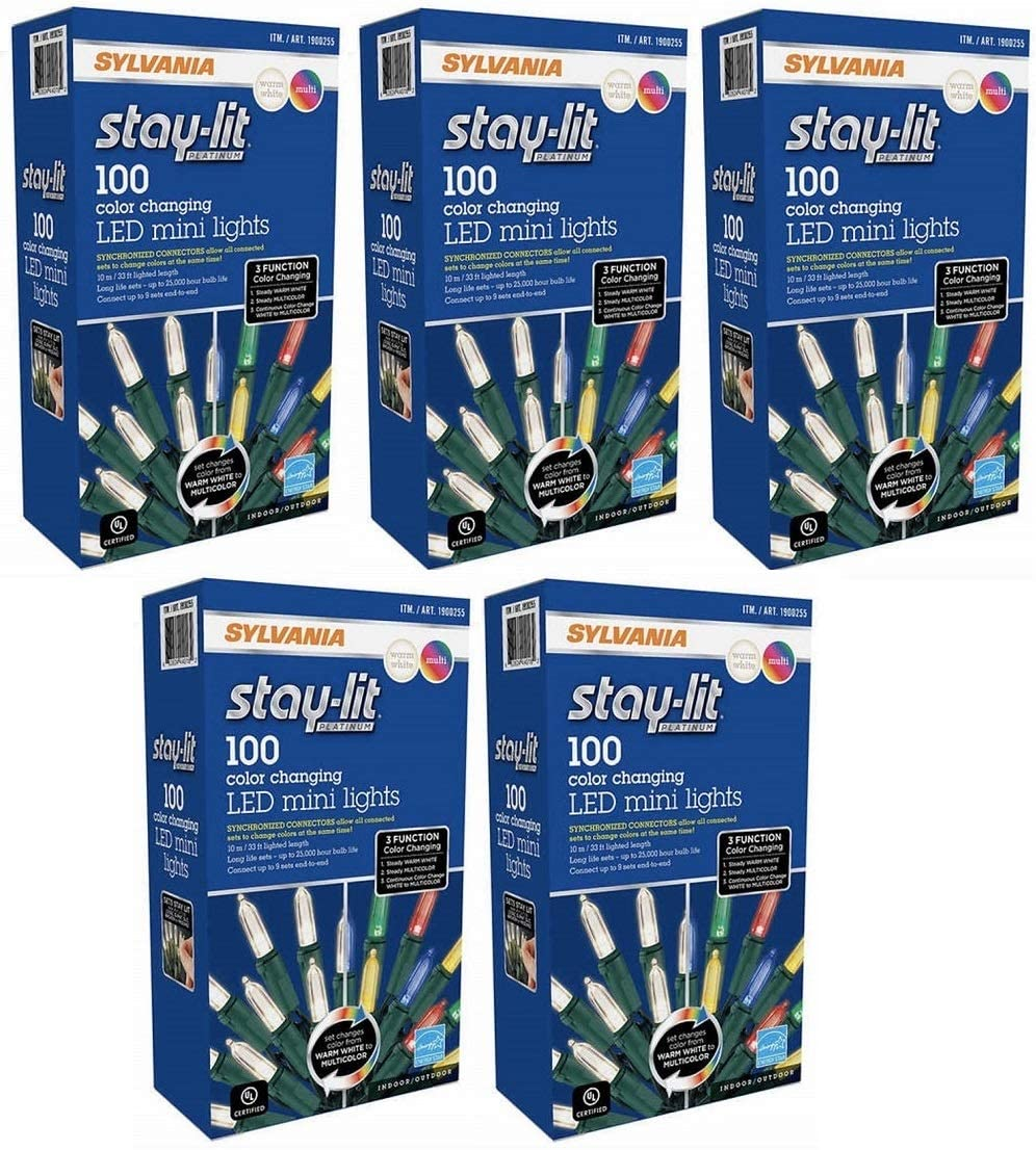 Sylvania Christmas Lights 3-Function Changing C, Warm White/Multi-Color pack of 5
