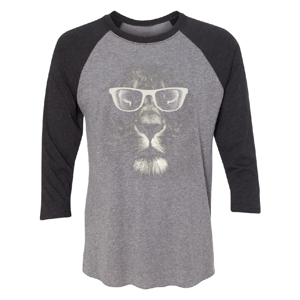 Hipster White Lion with Glasses 3/4 Raglan Tee Animal Lovers Gift Jersey Black Heather/Grey Small