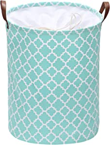 Sea Team Moroccan Lattice Pattern Laundry Hamper Canvas Fabric Laundry Basket Collapsible Storage Bin with PU Leather Handles and Drawstring Closure, 19.7 by 15.7 inches, Mint