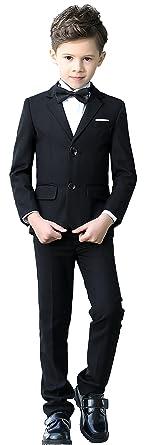 7c5f5470c YuanLu Boys Colorful Formal Suits 5 Piece Slim Fit Dresswear Suit Set  (Black, 2