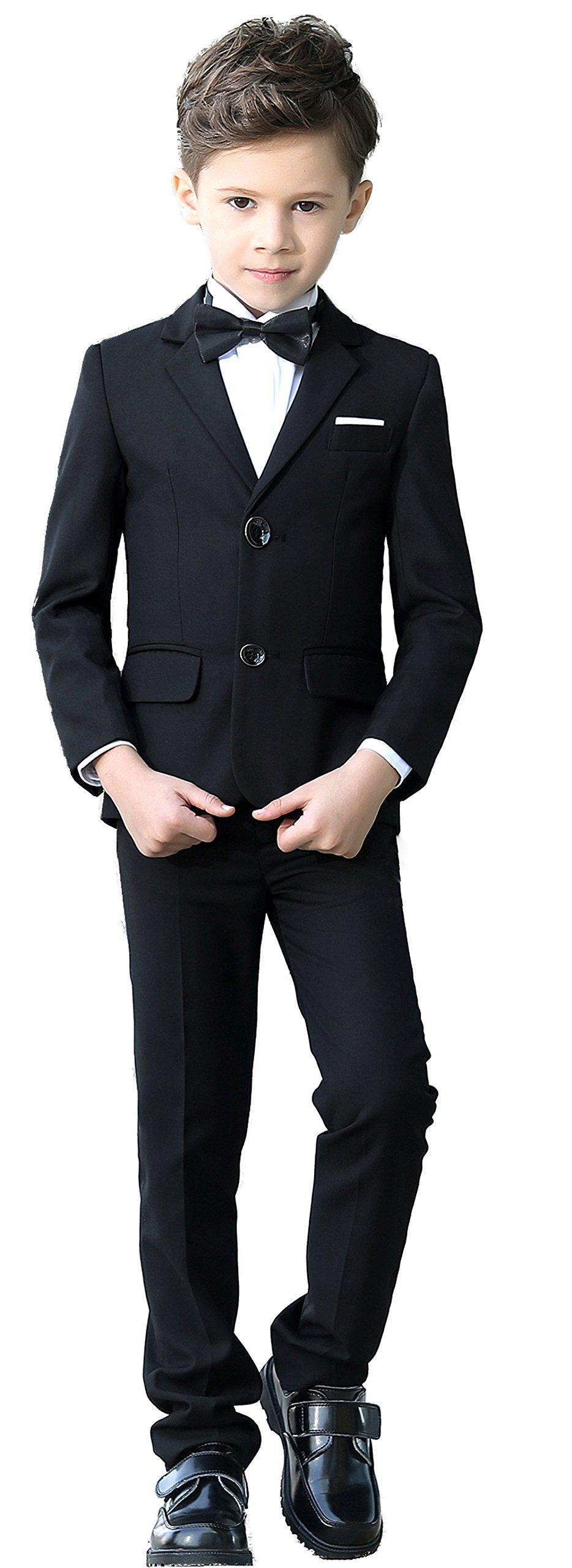 YuanLu Boys Colorful Formal Suits 5 Piece Slim Fit Dresswear Suit Set (Black, 14)