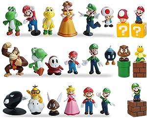 "23Pcs Super Mario Action Figures - Mario、Luigi、Yoshi、Mary Princess、Turtle、Mushroom、Orangutan - Mario Toy Set Minifigures Toys 1.4""-2.7"""