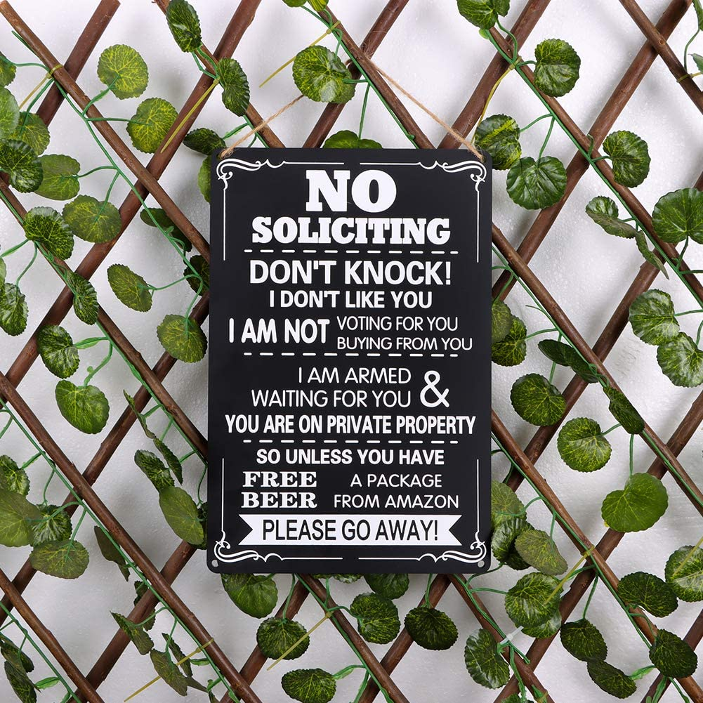 WaaHome No Soliciting Sign for House Door Yard 7.8x11.8 Humorous No Soliciting Sign Private Property Dont Knock Signs