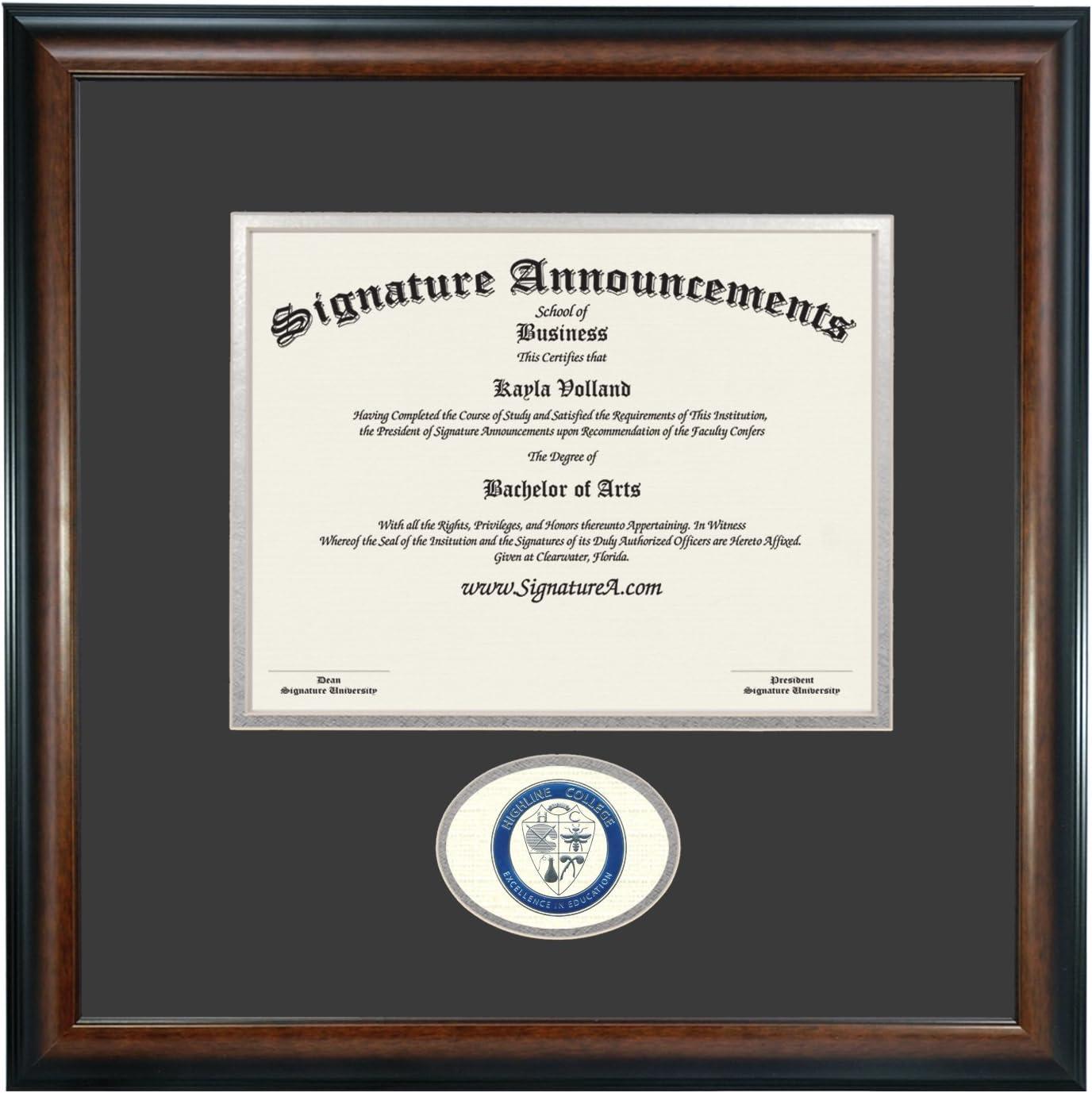 Signature Announcements Highline College Undergraduate Name /& Tassel Graduation Diploma Frame 16 x 16 Matte Mahogany Sculpted Foil Seal