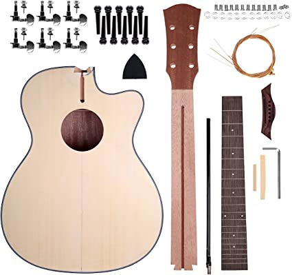 Shsyue Diy Acoustic Guitar Set Wooden Guitar Kit With Steel String 40 Inch Amazon Co Uk Musical Instruments