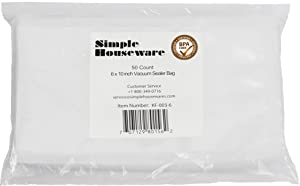 "50 Count - Pint Size 6"" x 10"" Vacuum Sealer Bags Food Storage Saver Commercial Grade Precut bags for Foodsaver and Sous Vide"