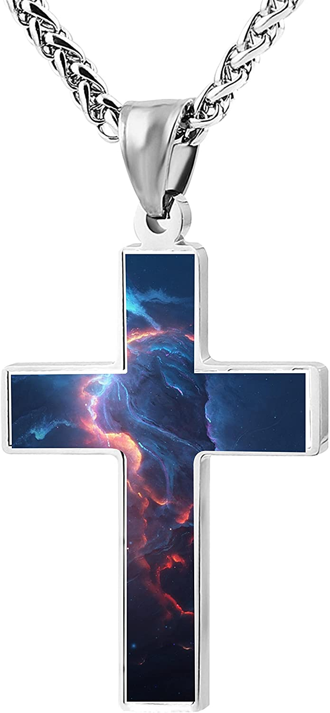 Beufun Zinc Alloy Chain Cross Pendant Necklace Atlantis on Fire 3D Printed Jewelry for Men Women