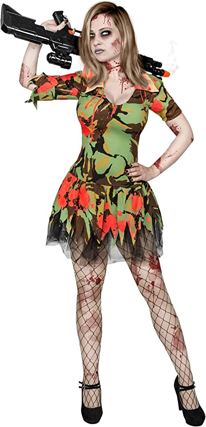 Atosa 22702 Disfraz militar sangriento adulto XS-S, talla mujer ...