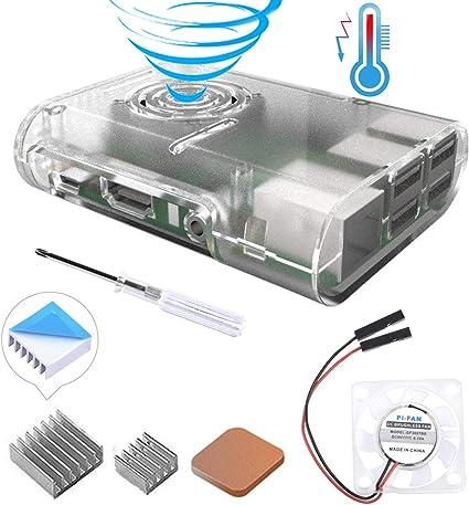 GeeekPi Raspberry Pi 3 B + Caja, Raspberry Pi Caja con Ventilador, disipador de Calor Raspberry Pi para Raspberry Pi 3 Modelo B +, Raspberry Pi 3/2 Modelo B (Claro): Amazon.es: Informática
