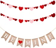 MALLMALL6 Valentine's Day Banners Be Mine Burlap Banner Felt Heart Garland Banner Flags Party Supplies Decoration Valentine O