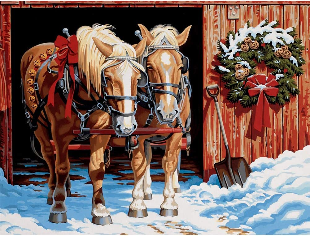 HUANSUNWO DIY 5D Diamond Painting by Number Kits, Full Drill Crystal Rhinestone Embroidery Pictures for Home Wall Decor Gift 12x16 inch - Horses Carriage & Snow