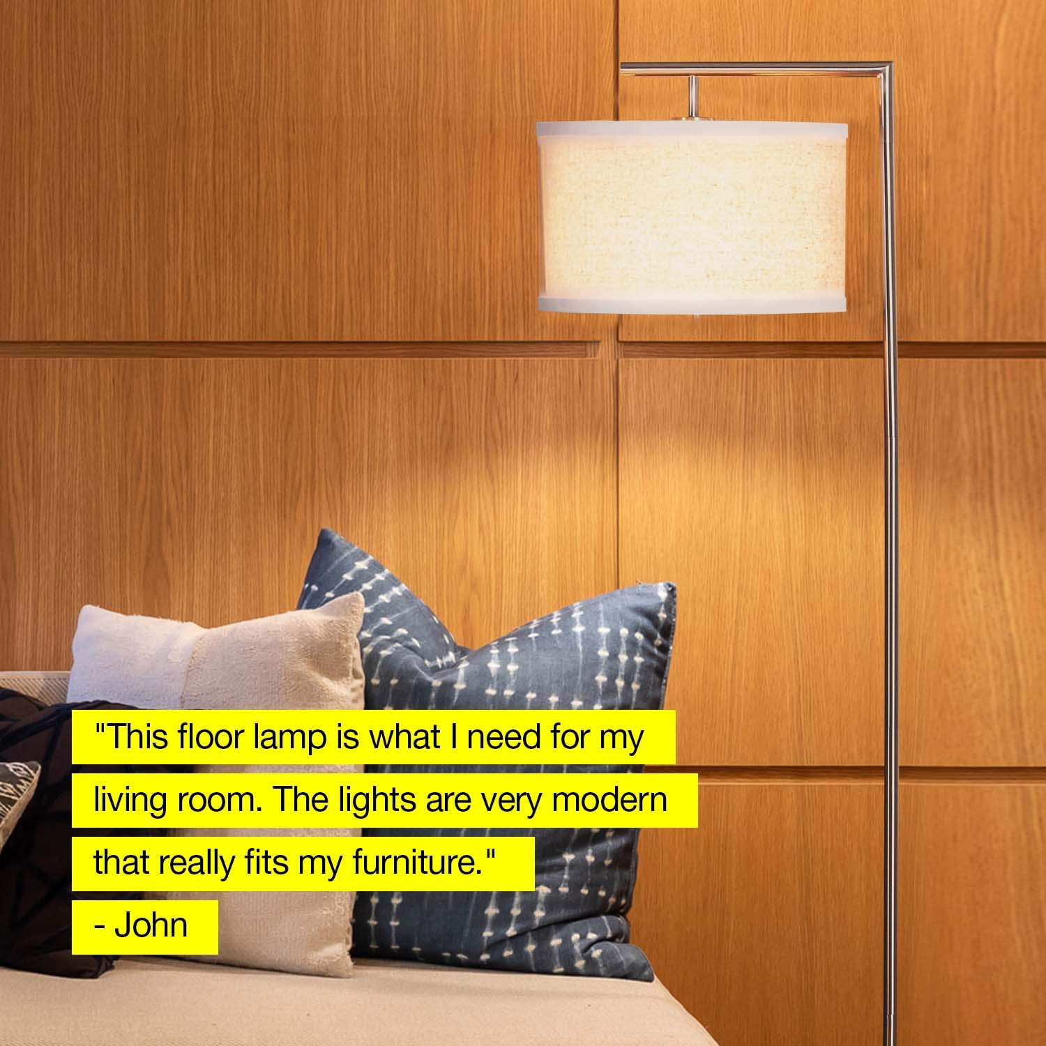 Brightech Montage Modern - LED Floor Lamp for Living Room- Standing Accent Light for Bedrooms, Office - Tall Pole Lamp with Hanging Drum Shade - Satin Nickel by Brightech (Image #4)