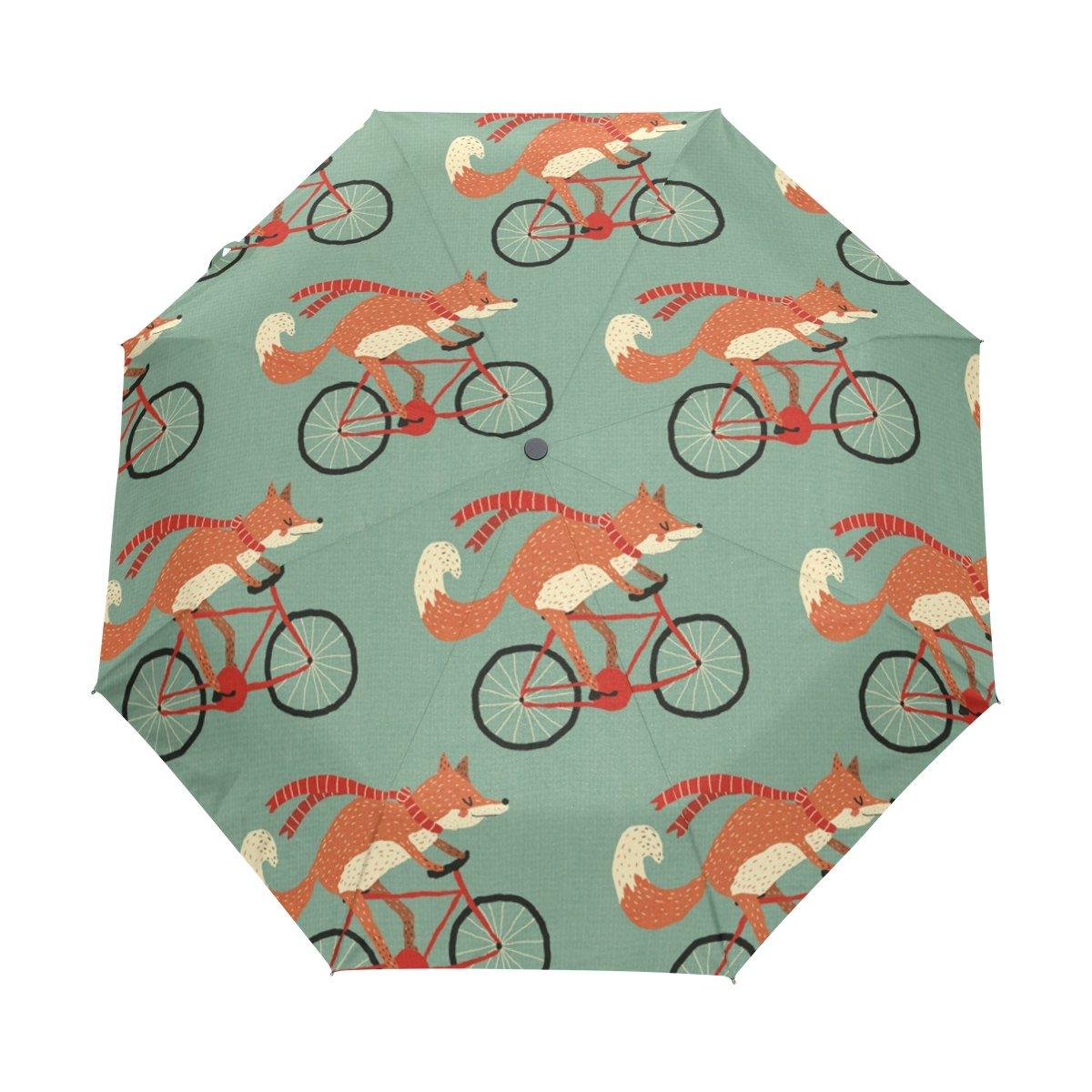 bennigiry paraguas Fox patrón UV anti ligero sombrilla elegante reverso 3 plegable gota resistente paraguas Regalos especiales para negocios y personal, ...