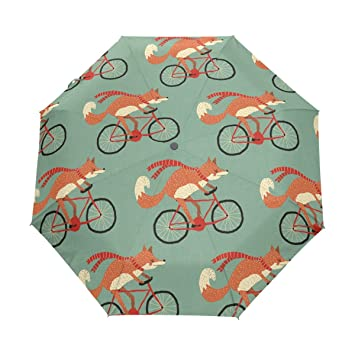 bennigiry paraguas Fox patrón UV anti ligero sombrilla elegante reverso 3 plegable gota resistente paraguas Regalos