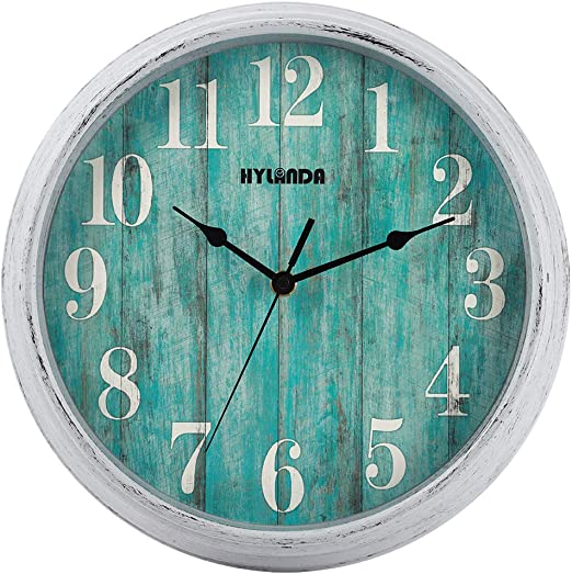 12 inches Retro Style Non Ticking Silent Quartz Decorative Wall Clock for Room and Kitchen 23 HI GIRL Wood Wall Clock