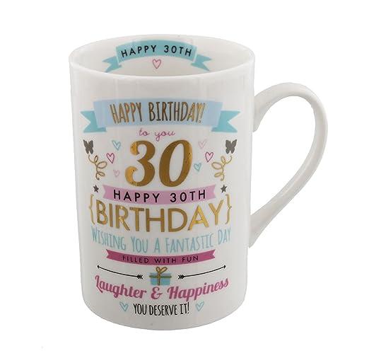 Taza para de cumpleaños de color rosa y diseño de dorado ...
