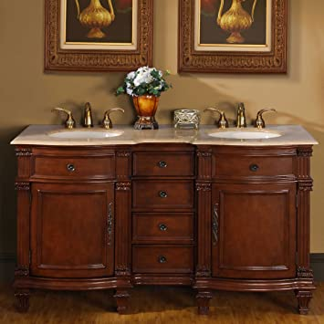 silkroad exclusive travertine stone top double sink bathroom vanity with cabinet 60inch