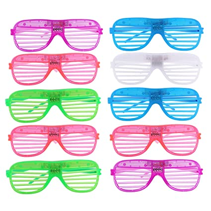 2757582d98 Tinksky Plastic Shutter Shades Grid LED Glasses Halloween Party Props-12  Pairs(Random Color