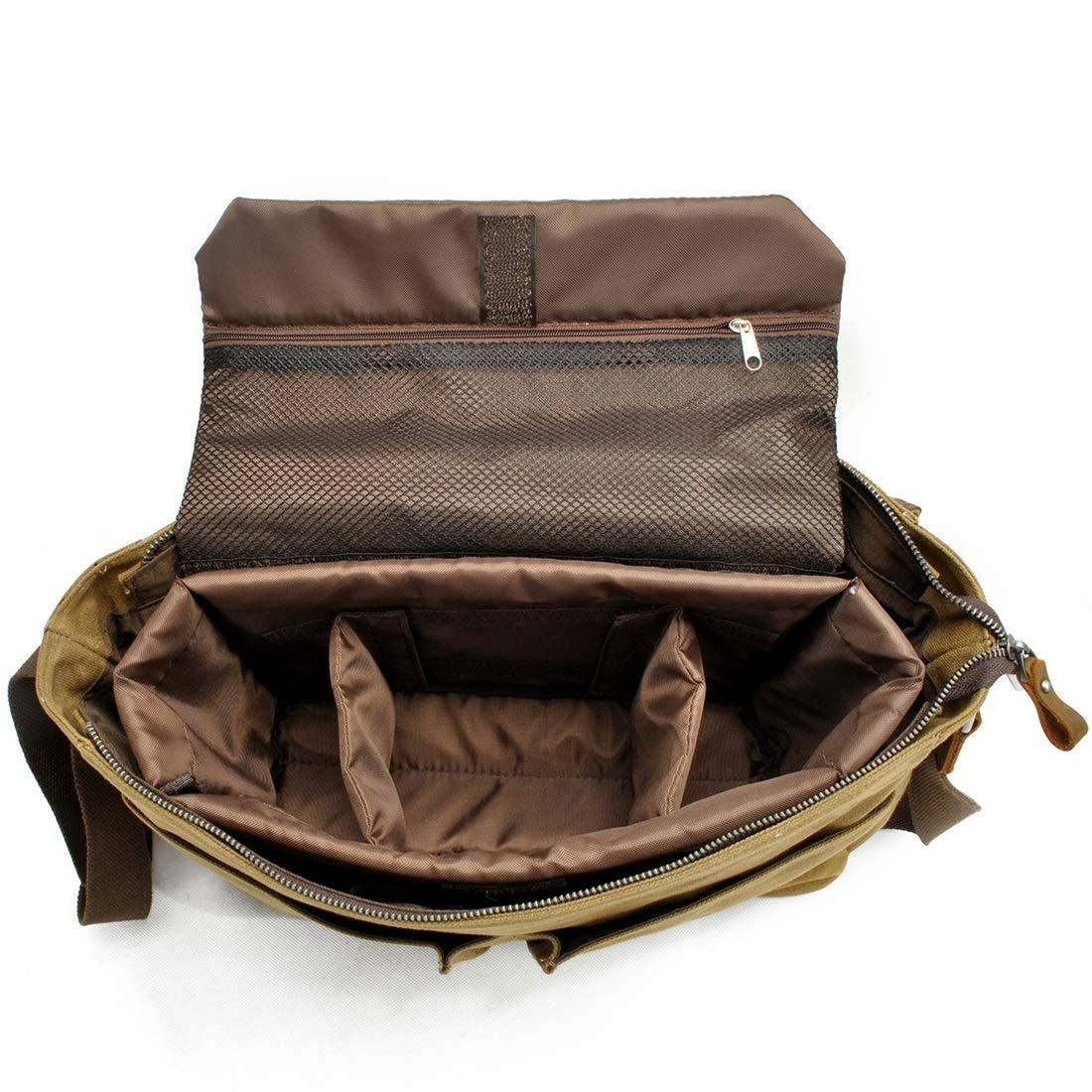 RABILTY Simple Retro Zipper Waterproof Canvas Camera Bag Briefcase Shoulder Bag Messenger Bag Color : Khaki