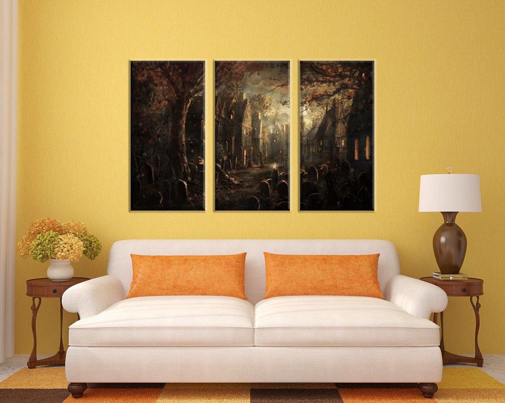 Amazon.com: NAN Wind Golden Pumpkin Lantern Old Castle Haunted House ...