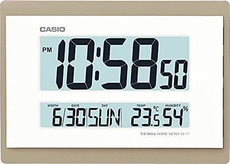 RELOJ DIGITAL PARED CASIO ID-17-9DF CALENDARIO TEMPERATURA HUMEDAD COLOR BLANCO BISEL DORADO 26 CM X 18.5 CM: Amazon.es: Relojes