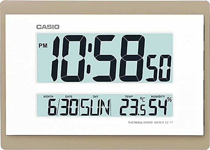RELOJ DIGITAL PARED CASIO ID-17-9DF CALENDARIO TEMPERATURA HUMEDAD COLOR BLANCO BISEL DORADO 26 CM X 18.5 CM: Amazon.es: Relojes