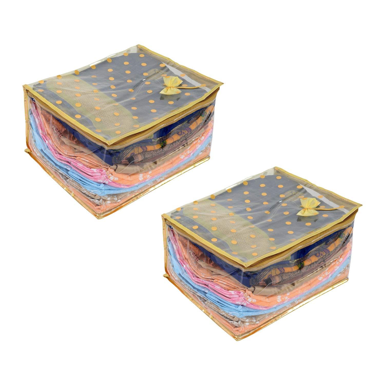 Amba Handicraft 2 Jumbo Storage Bag for Blanket Kurti Saree Cloths Cover Bag desginer Saree Bag Dress Cover Indian Wedding Gift Wardrobe Organiser Breathable Material with Window Saree Cover AHSC014