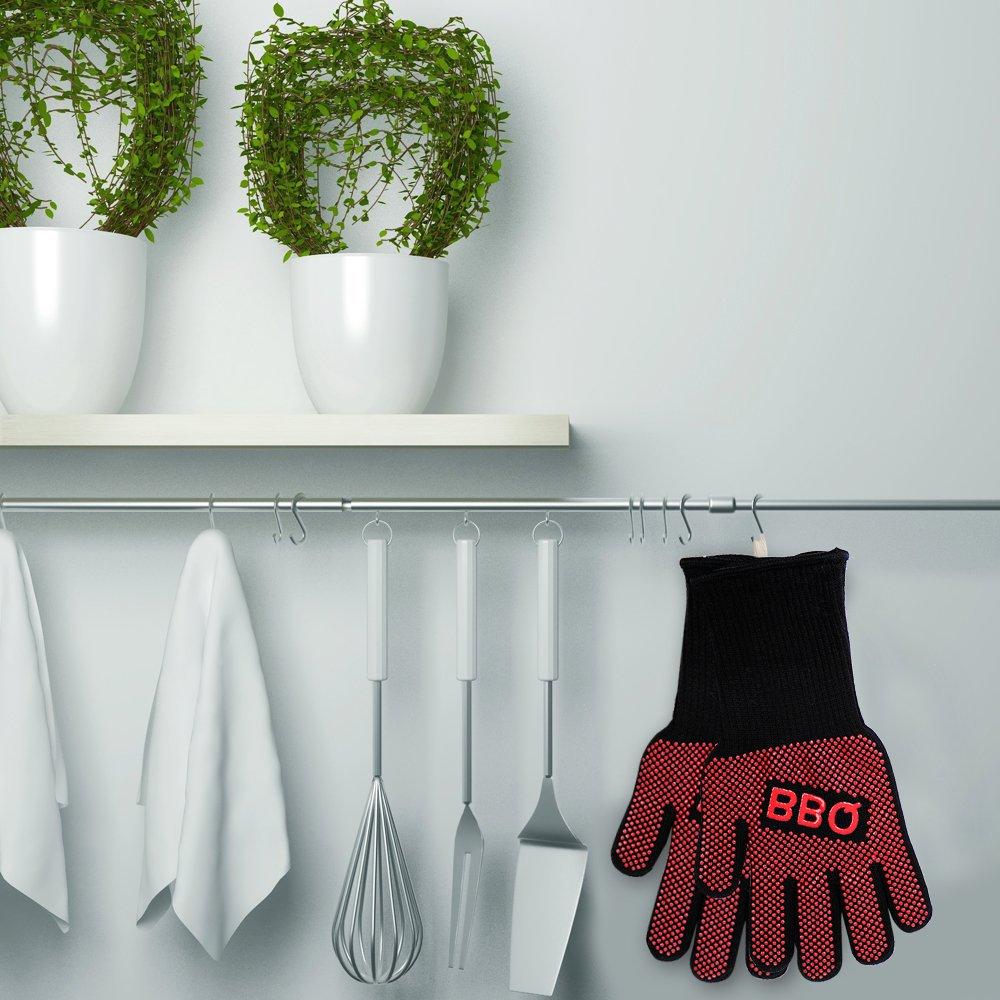 Guantes de cocina (1 par) Guantes para horno resistente al calor hasta 500 °C largo guantes per barbacoa extra largo protección del antebrazo revestimiento ...