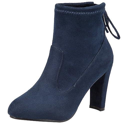 8cbe74cf6c2 Jamron Mujer Suave Franela Elegante Tacón de Bloque Alto Botines Ancho del  Eje Ajustable con Cordón  Amazon.es  Zapatos y complementos