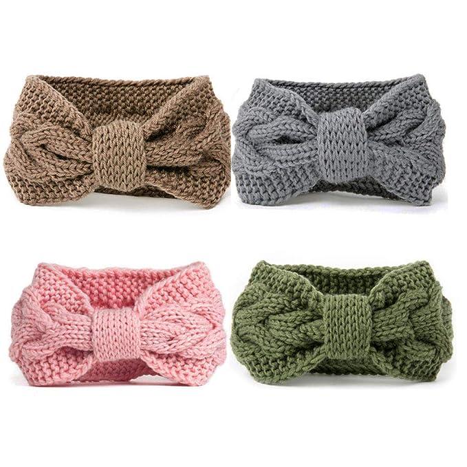 DRESHOW 4 Pack Crochet Turbante fascia per le donne Warm ingombranti  all uncinetto Headwrap f1d0c6143bc6