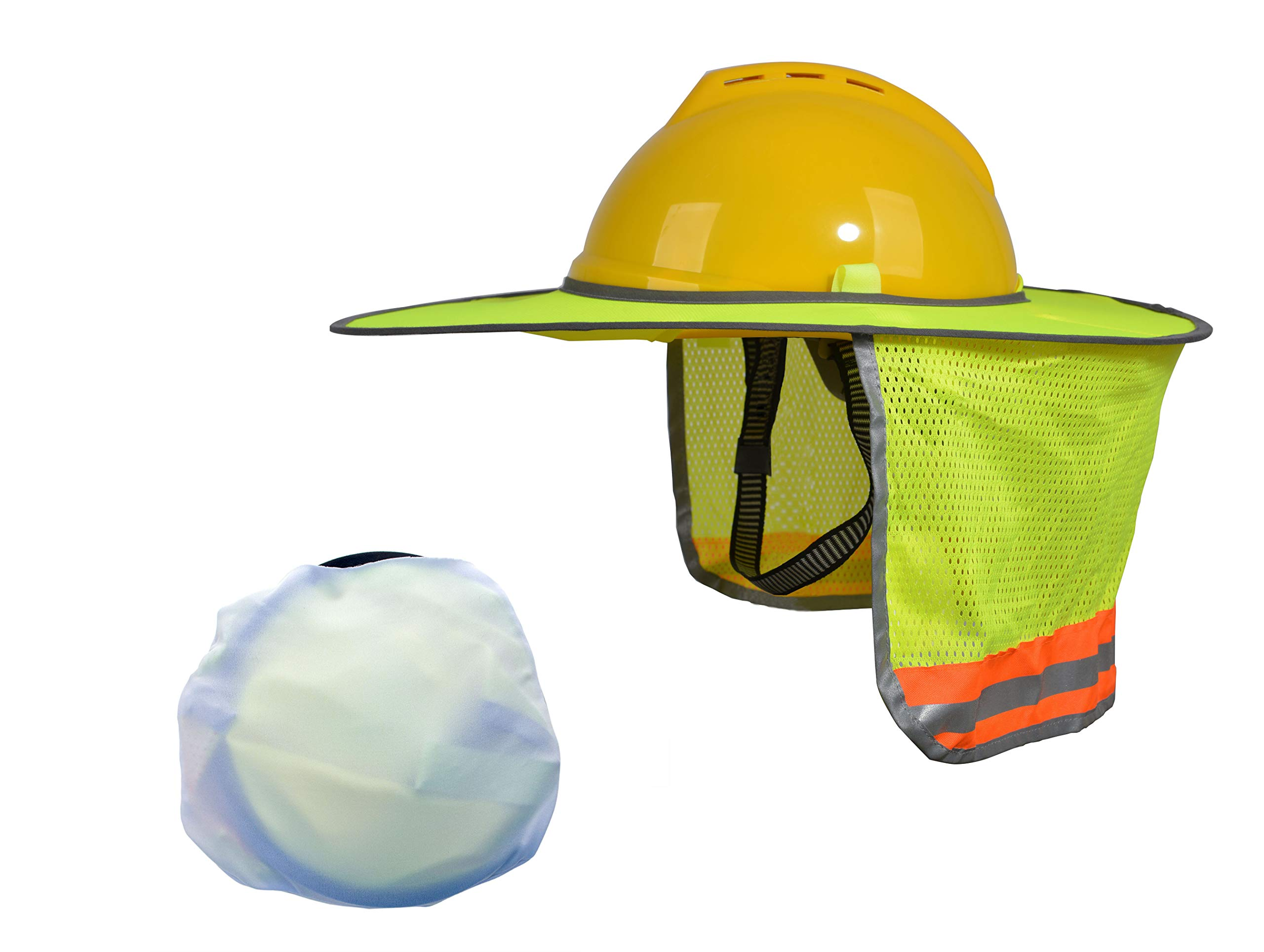 10 Pack Hard Hat Sun Shield, Full Brim Mesh Neck Sun-Shade Protection with Visor for Hardhats, High Visibility and Reflective