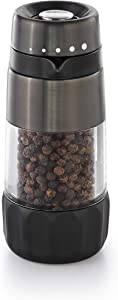 OXO Good Grips Accent Mess Free Pepper Grinder, Black Stainless Steel,Gunmetal,One Size