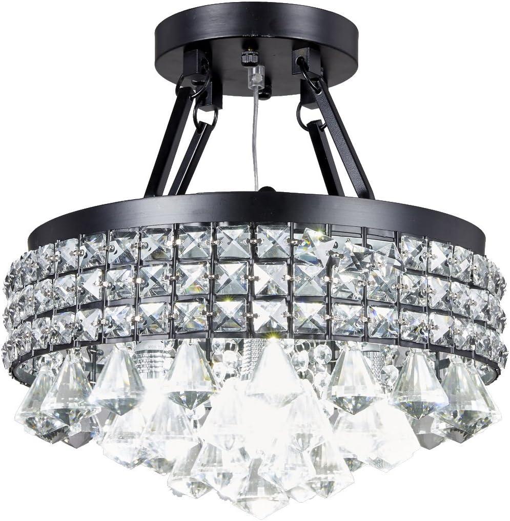 New Legend Lighting 4-Light Antique Black Round Metal Shade Crystal Chandelier Semi-Flush Mount Ceiling Fixture