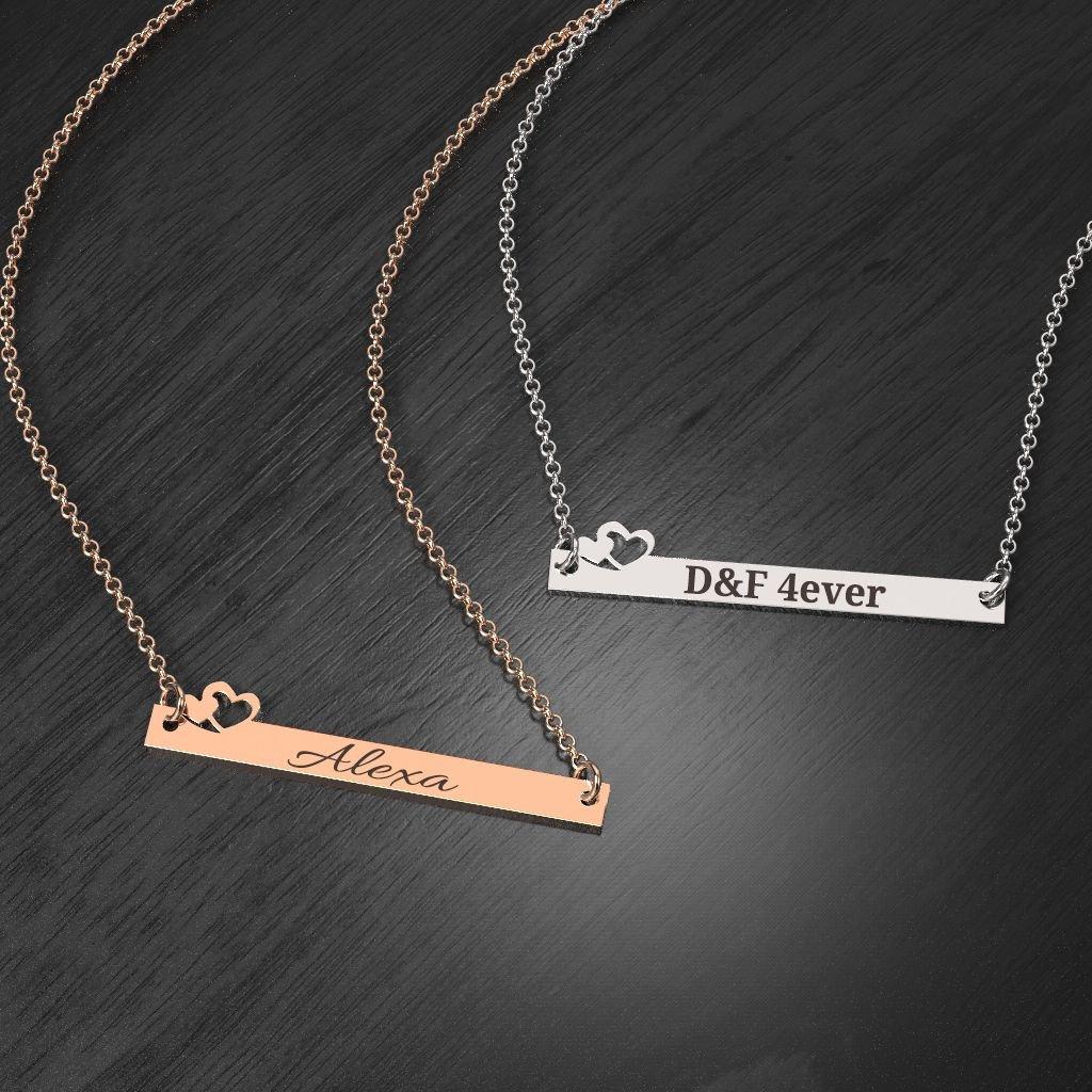 10K Be Mine Engravable Bar Necklace by JEWLR