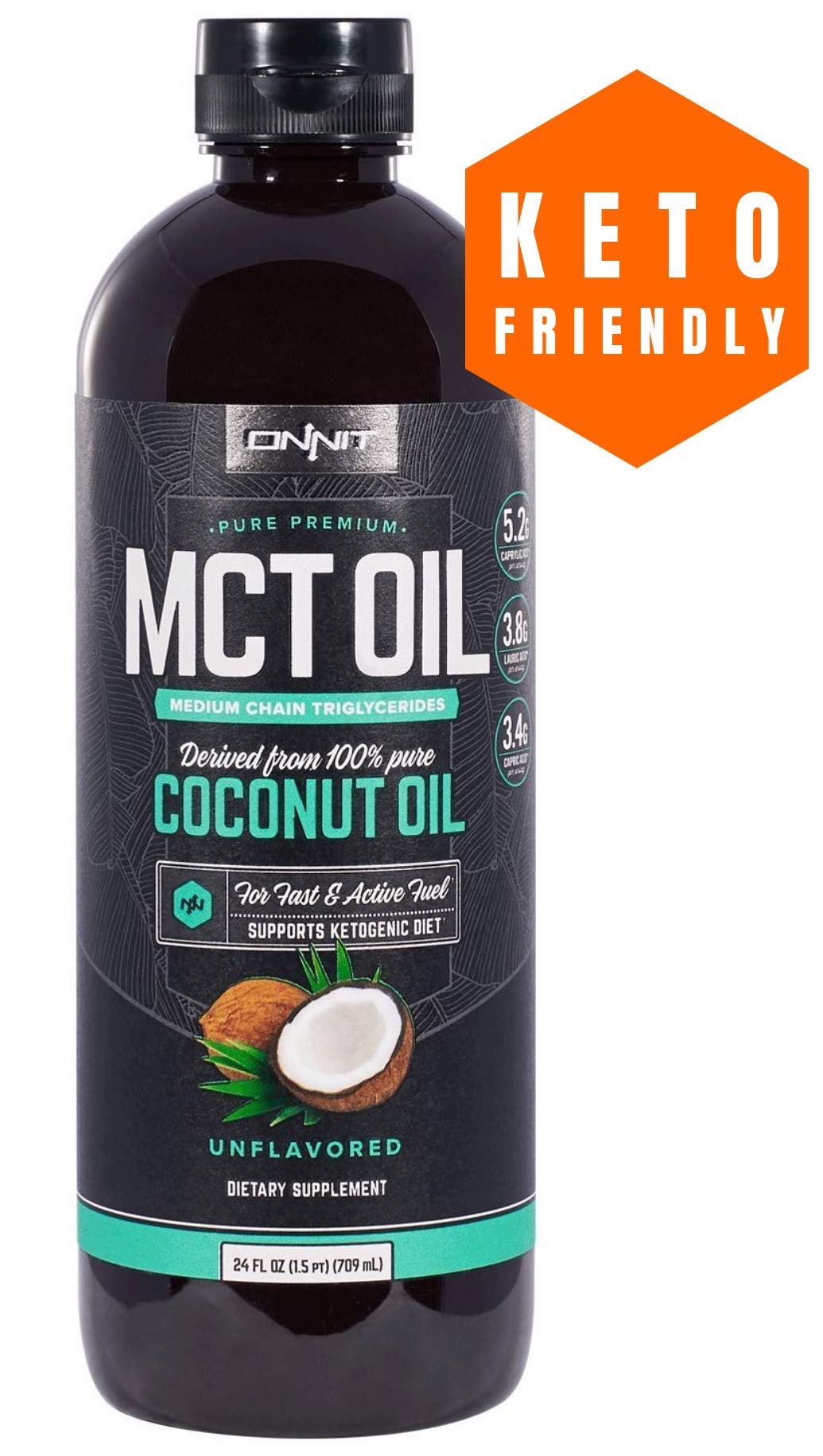 Onnit MCT Oil - Pure MCT Coconut Oil, Ketogenic Diet and Paleo Optimized with C8, C10, Lauric Acid - Perfect for Coffee, Shakes, and Cooking (Flavorless - 24oz) by ONNIT