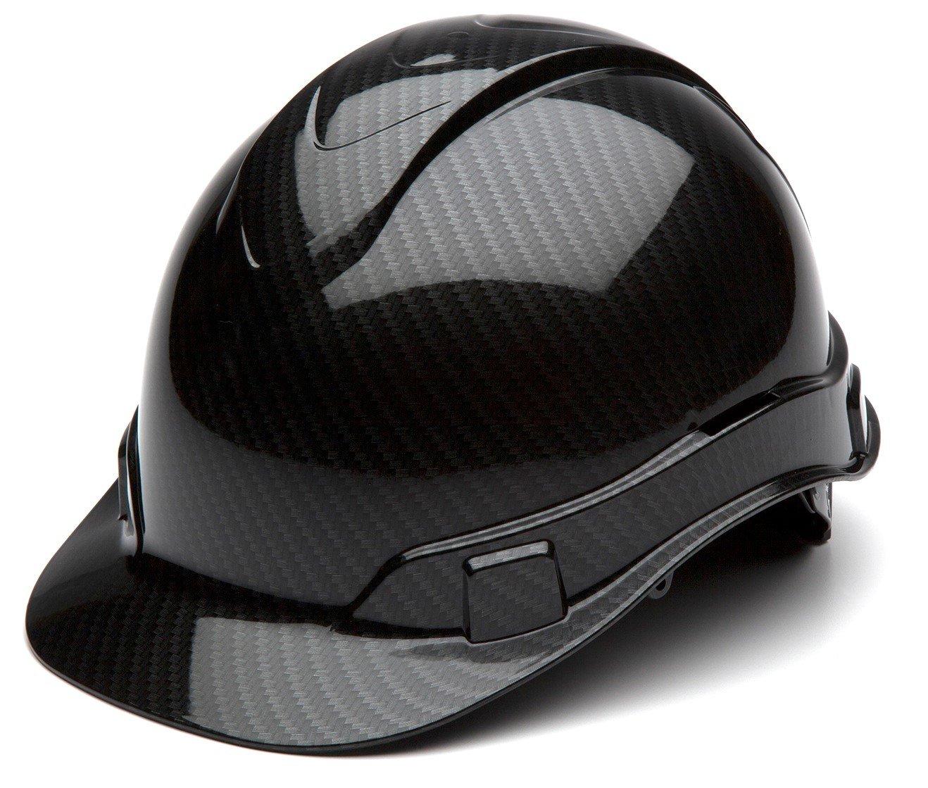 Pyramex Ridgeline Cap Style Hard Hat, 4 Point Ratchet Suspension, Shiny Black Graphite Pattern