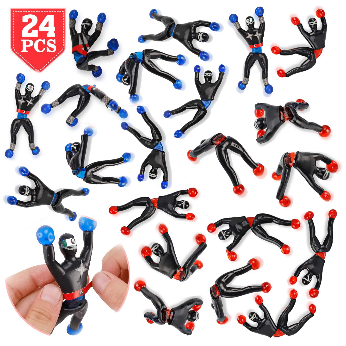 Liberty Imports Sticky Wall Climbing Ninjas with DIY Costume Stickers, Stretchy Climbers Window Crawlers, Party Favor Tricky Novelty Toys Climbing ...