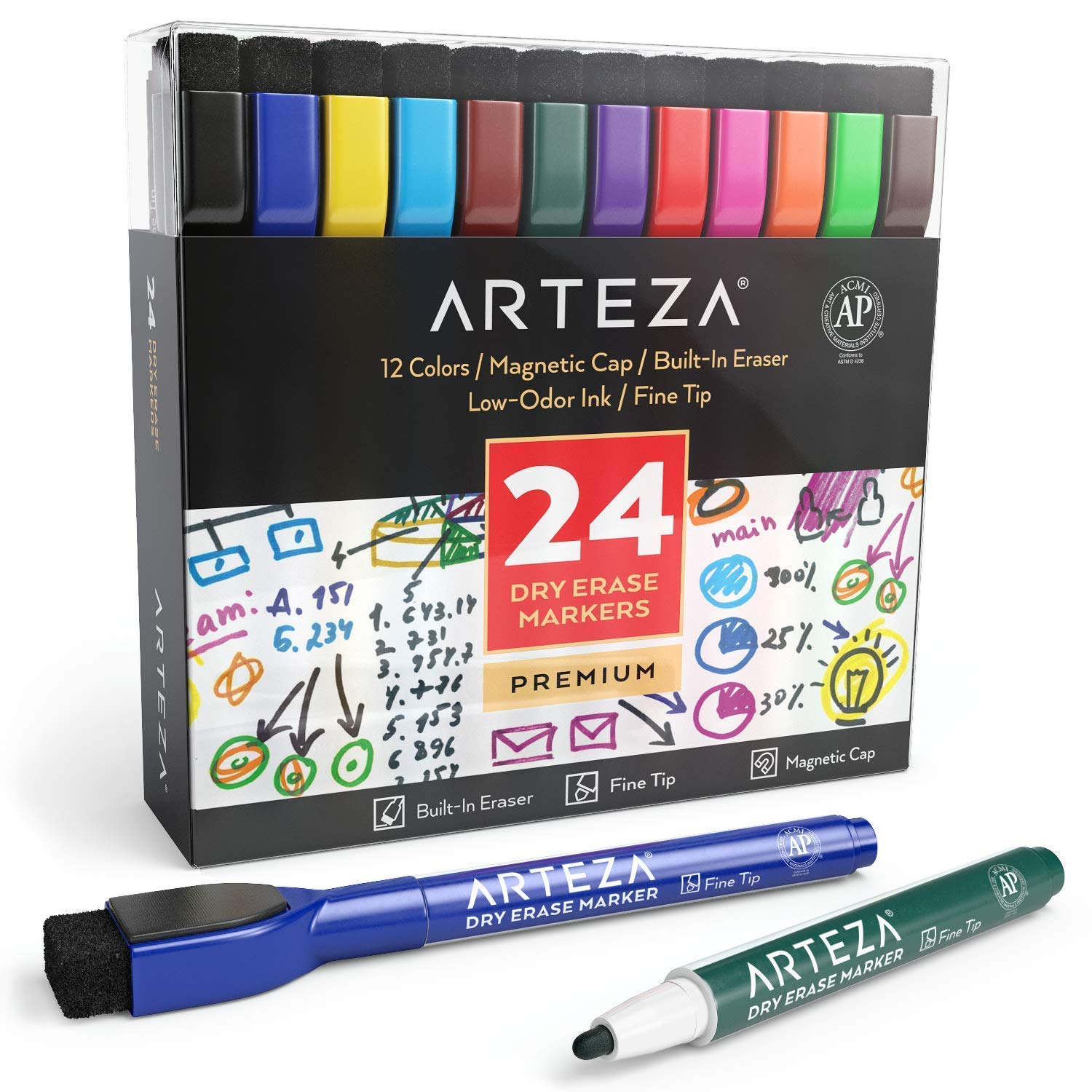 ARTEZA Magnetic Dry Erase Markers with Eraser, Pack of 24 (with Fine Tip), 12 Assorted Colors with Low-Odor Ink, Whiteboard Pens is Perfect for School, Office,or Home