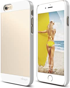 iPhone 6S Case, elago S6 Outfit Aluminum and Polycarbonate Dual Case for The iPhone 6/6S (4.7inch) + HD Professional Screen Film Included - Full Retail Packaging (White/Champagne Gold)
