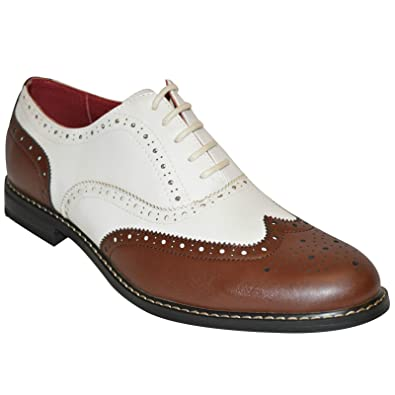 923e653f0ff4 Giovanni Mens Two Tone Lace Up Smart Derby Brogues Shoes Size UK 7 8 9 10