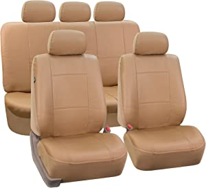 FH Group PU002TAN115 Tan Faux Leather Seat Cover (Full Set Airbags Compatible and Split Bench Cover)